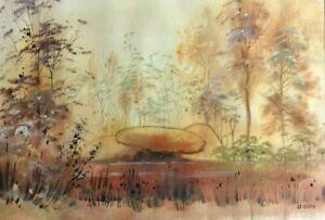 Aquarelle de Thérèse Le Guen, forêt d'Huelgoat, Bretagne, Aubusson, Robert Four