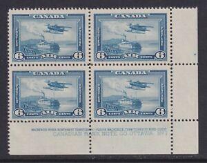 Canada Scott C6 SG 371 VF MNH 1938 6¢ Blue Monoplane Airmail LR Plate Block