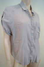 MIH Pale Grey 100% Cotton Embossed Print Collared Short Sleeve Blouse Top Sz:M