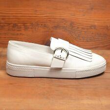DKNY White Leather Kiltie Shoes Womens 10M Slip On Platform Silver Buckle