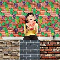 3D Stone Brick Wallpaper Background Modern Vinyl Film Sticker Wall Decor FM