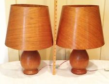 RARE Pair Of Mid Century Danish/European ALL Wood Cats Eye Lamps W/Wood  Shades