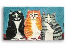 signed Cat Print NO EVIL CATS!  Folk Art Print- Proper Kitties -Wendy Presseisen