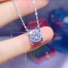 2Ct Round Moissanite Solitaire Necklace Pendant Free Chain 18K White Gold Finish