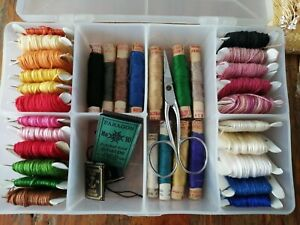 Job Lot bundle  Embroidery Threads  In A Storage Box.