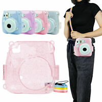 For Fujifilm Instax Mini 9 Camera Case Crystal Hard PVC Cover w/ Shoulder Strap