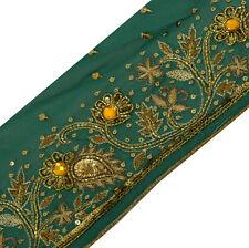 Antique Vintage Saree Border Indian Craft Trim Hand Beaded Ribbon Green Lace