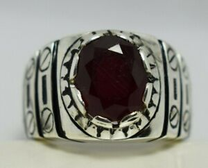 MEN RING RUBY STAINLESS STEEL SILVER CROSS KNIGHT TEMPLAR SOLITAIRE POPE SIZE 12