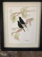 Two Blackbirds In Blossom Tree, Watercolour Original Signed Art, Vintage, Gift