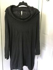 Kensie Cowl-Neck Long Sleeves Sweater Dress Stretch Knit Gray L