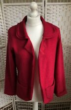 ATELIER LILA Red 100% Merino Wool Unstructured Open Jacket Size Large UK 14 16