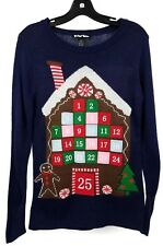 Planet Gold Funky Christmas Pullover Sweater Womens S Blue Gingerbread House