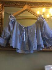 Zara a righe Off spalla top camicetta Bardot Fronzoli Taglia Small UK 8 BNWT