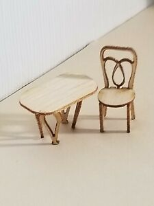1:48 inch miniature scale BENTWOOD STYLE CHAIR and TABLE