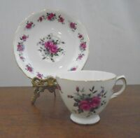 Queen Anne Bone China England Pink Cabbage Roses Tea Cup and Saucer #8186