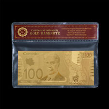 WR Canada $100 One Hundred Dollars Gold Banknote Business Gift In Platsic Sleeve