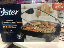 "Oster DuraCeramic 16"" Electric Skillet With Lift & Serve Hinged Lid DAMAGED BOX"