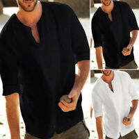 Men Baggy Cotton Linen Solid Color 3/4 Sleeve V Neck T Shirts Casual Top Blouse