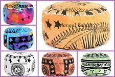 Indian cotton mandala ottoman pouffe floor cover bohemian round foot stool decor