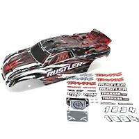 Traxxas Rustler Truck Body Wing Red Black Grey White Painted Decals XL5 VXL