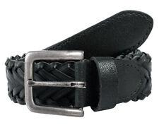 Dents plaited leather single keeper belt
