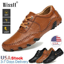Men's Genuine Leather Casual Shoes Antiskid Driving Slip on Loafers Moccasins 12