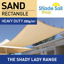 Rectangle SAND 4m x 8m Shade Sail Sun Heavy Duty 280GSM 95% UV BEIGE 4 x 8 m
