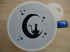 Laser cut cat on moon design coffee and craft stencil