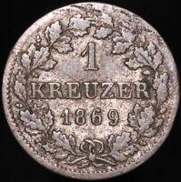 1869 | German States Bavaria Ludwig II 1 Kreuzer | Silver | Coins | KM Coins