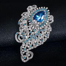Graceful Blue Glass Rhinestones Alloy Wedding Party Bridal Gift Brooch Pin