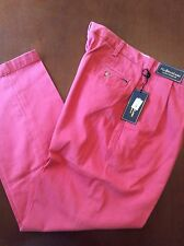 NEW RALPH LAUREN PANTS KHAKIS/CHINOS BRICK RED CLASSIC FIT PLEATED FRONT 36/30