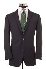 RECENT Hugo Boss Red Label Navy Blue Tonal Stripe Wool 2pc Suit Jacket Pants 42L