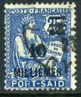 Port Said 1921 French Colony 10¢/25¢ Blue SG #143 VFU B701