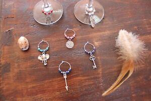 Handmade Wine Glass Rings Coloured Elephant Arrow Key Om Handmade Set of 6