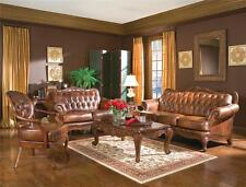 Formal Traditional Victoria 3Pc Leather Sofa Set Sofa Loveseat Chair Living Room