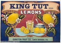 King Tut Lemons. Citrus Crate Label Art print Johnston Fruit Santa Barbara CA