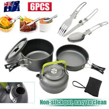 6X Outdoor Cooking Camping Kettle Pan Pots Cup Cook Set For Camp Fishing Travel