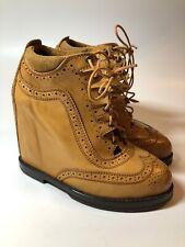 Mihara Yasuhiro $950 Tan Leather Wingtip Hidden Wedges Shoes Womens Size 6.5 M