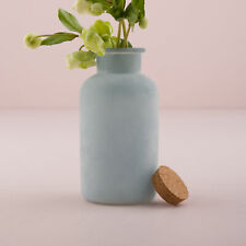 Frosted Sea Blue Glass Bottle With Cork Stopper Decoration
