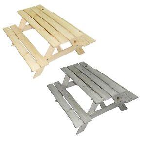 Picknicktisch für 4 Kinder - Gartentisch Farbe natur - Outdoor Sitzgarnitur 90cm