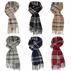 Unisex Scarf Fringing Wool Blend Tartan Print Cosy Wrap Long Scarve Fashion Gift