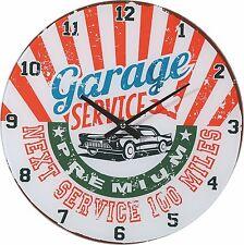 Wanduhr Uhr Garage Werkstatt Service Oldtimer Auto Vintage Retro 30 cm Glas NEU