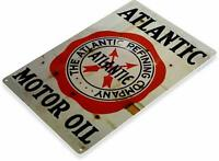 Atlantic Motor Oil Gas Oil Garage Auto Shop Rustic Metal Decor Sign