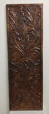 ANTIQUE LOOK WALL HANGING PANEL FLOWER VASE CARVING HAND PAINTED 100%MANGO WOOD
