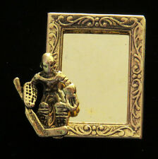 Ice Hockey Goalie Photo Frame Pin 24 Karat Gold Plate