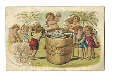 Old Trade Card Crown Ice Cream Freezer American Machine Philadelphia Cherubs