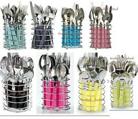 16-Piece Stainless Steel Cutlery Set+ Chrome Basket in,8  P colours ,Sky Blue