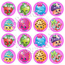 16x EDIBLE Shopkins Birthday Party Cupcake Toppers Wafer Paper 4cm (uncut)