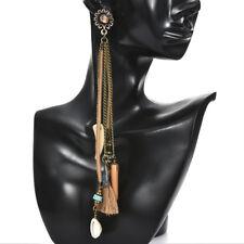 Women Fashion Bohemian Earrings Ear Stud Vintage Long Tassel Fringe Drop Dangle