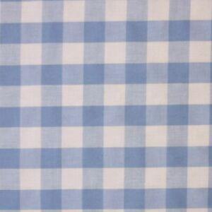 Sky Blue White 1 Inch Gingham Check Polycotton Fabric 114 cm width  free p&p